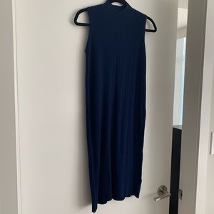 Mock neck navy knit dress